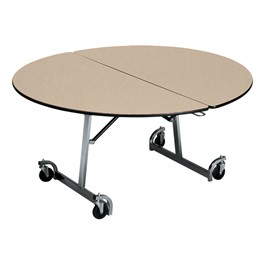 Uniframe Round Mobile Cafeteria Table - Shown w/ chrome frame