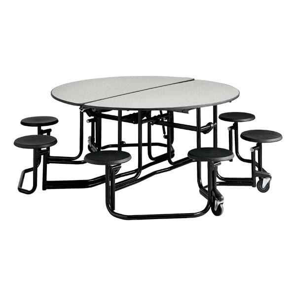 "Uniframe Round Mobile Cafeteria Stool Table w/ Black Frame & Perfect Edge (86"" Diameter) - Gray"
