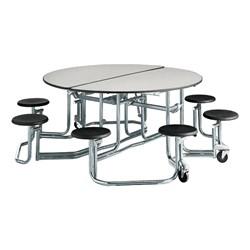 "Uniframe Round Mobile Cafeteria Stool Table w/ Chrome Frame & Perfect Edge (86"" Diameter) - Gray"