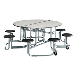 "Uniframe Round Mobile Cafeteria Stool Table w/ Chrome Frame & Perfect Edge (86"" Diameter) - Gray"