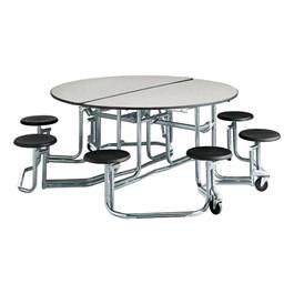 "Uniframe Round Mobile Cafeteria Stool Table w/ Chrome Frame & Perfect Edge (86\"" Diameter) - Gray"