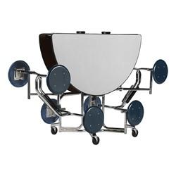 "Uniframe Round Mobile Cafeteria Stool Table w/ Chrome Frame & Perfect Edge (86"" Diameter) - Folded"