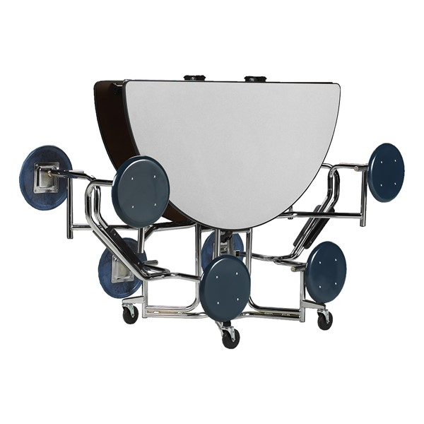 "Uniframe Round Mobile Cafeteria Stool Table w/ Chrome Frame & Perfect Edge (86"" Diameter) - Folded"