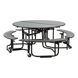 Uniframe Mobile Round Cafeteria Split-Bench Table