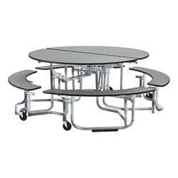 "Uniframe Round Mobile Cafeteria Split-Bench Table w/ Chrome Frame & Bull-Nose Edge (81"" Diameter) - Gray"