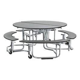 "Uniframe Round Mobile Cafeteria Split Bench Table w/ Chrome Frame & Perfect Edge (81\"" Diameter) - Gray"