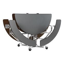 "Uniframe Round Mobile Cafeteria Split-Bench Table w/ Chrome Frame & Bull-Nose Edge (82"" Diameter) - Folded"