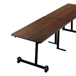 "Uniframe Rectangle Mobile Table w/ Chrome Frame & Bull-Nose Edge (30"" W x 139 1/2\"" L) - Black Frame Shown"