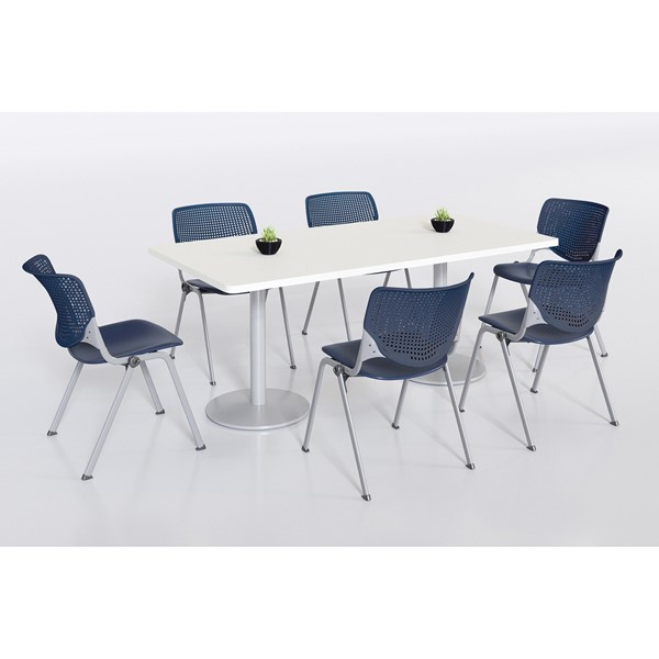 Six Energy Series Perforated Back Stack Chairs, Navy, at a table