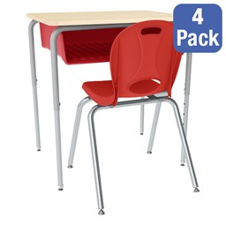 Open Front Desk w/ Color Book Box and Silver Mist Frame and 18-Inch Structure Series School Chair Set – Four Desks/Chairs