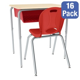 Open Front Desk w/ Color Book Box and Silver Mist Frame and 18-Inch Structure Series School Chair Set – 16 Desks/Chairs