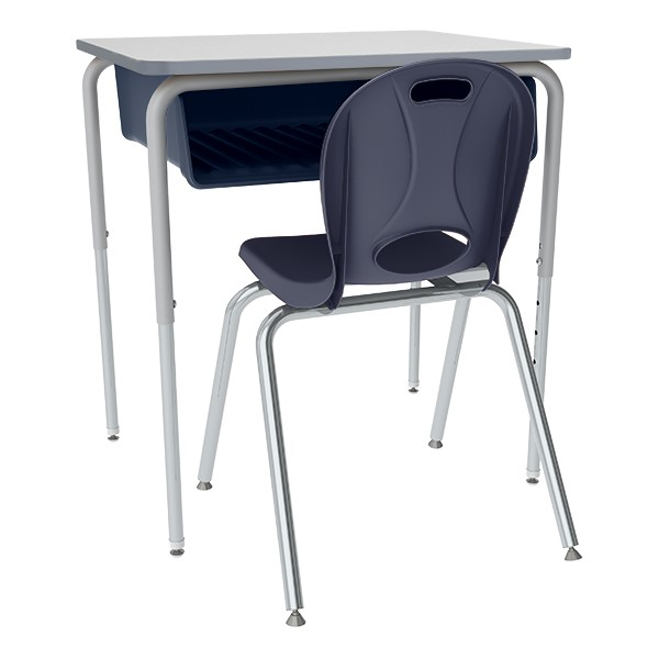 Open Front Desk w/ Color Book Box and Silver Mist Frame and 18-Inch Structure Series School Chair Set