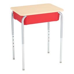 Open Front School Desk w/ Red Book Box & Silver Mist Frame - Back