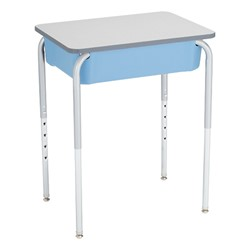 Open Front Desk w/ Color Book Box and Silver Mist Frame and 18-Inch Structure Series School Chair Set - Desk - Back