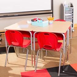 Open Front Desk w/ Color Book Box & Silver Mist Frame - Maple top w/ red book box