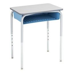 Open Front School Desk w/ Sky Blue Book Box & Silver Mist Frame - Gray Top