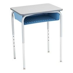 Open Front Desk w/ Color Book Box & Silver Mist Frame - Gray top w/ sky blue book box