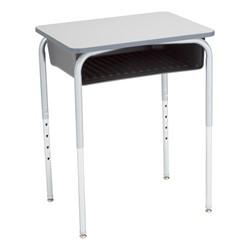 Open Front Desk w/ Color Book Box & Silver Mist Frame - Gray top w/ black book box