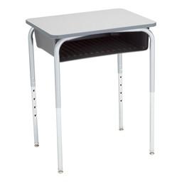 Open Front School Desk w/ Graphite Book Box & Silver Mist Frame - Gray Top