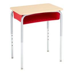 Open Front School Desk w/ Red Book Box & Silver Mist Frame - Maple Top