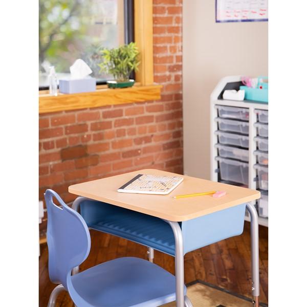 Open Front School Desk w/ Sky Blue Book Box & Silver Mist Frame - Maple Top