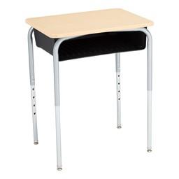 Open Front School Desk w/ Black Book Box & Silver Mist Frame - Maple Top
