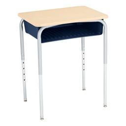 Open Front School Desk w/ Navy Book Box & Silver Mist Frame - Maple Top