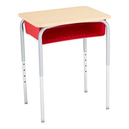 Open Front School Desk w/ Red Book Box & Silver Mist Frame - Maple Top