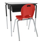 Open Front Desk w/ Black Book Box and Frame and 18-Inch Structure Series School Chair Set