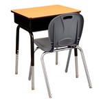 "Open Front Desk w/ Metal Book Box & 18"" Structure Series School Chair Set"