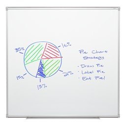 Porcelain Steel Magnetic Dry Erase Board w/ Aluminum Frame & Map Rail (4' W x 4' H)