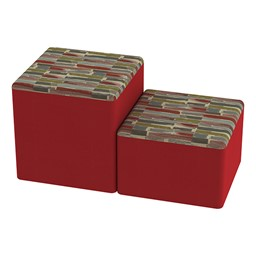Shapes Series II Designer Soft Cube Seating - Confetti/Red