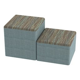 Shapes Series II Designer Soft Cube Seating - Pecan/Blue