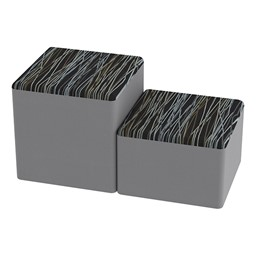 Shapes Series II Designer Soft Cube Seating - Peppercorn/Light Gray