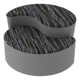 Shapes Series II Designer Soft Seating - Teardrop - Peppercorn/Light Gray