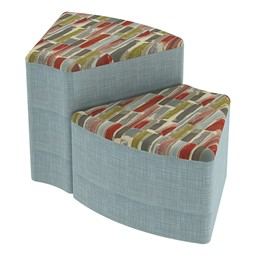 Shapes Series II Designer Soft Seating - Wedge - Confetti/Blue