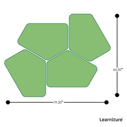 """Shapes Series II Vinyl Soft Seating - Two 12"""" H & Two 18"""" H CommunEDIs (Pack of Four) - Grouped Footprint"""