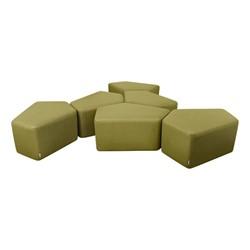 Shapes Series II Vinyl Soft Seating - CommunEDI Three-Pack (green crosshatch) - Two packs shown