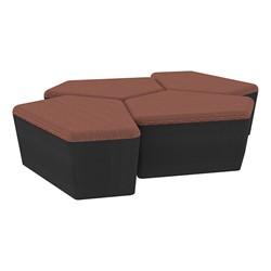 "Shapes Series II Designer Soft Seating - 18"" H CommunEDI Four-Pack - Brick/Black"