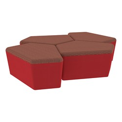 "Shapes Series II Designer Soft Seating - 18"" H CommunEDI Four-Pack - Brick/Red"