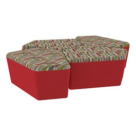 "Shapes Series II Designer Soft Seating - 18"" H CommunEDI Four-Pack - Confetti/Red"