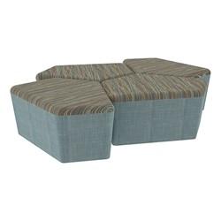 "Shapes Series II Designer Soft Seating - 18"" H CommunEDI Four-Pack - Pecan/Blue"