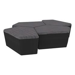 "Shapes Series II Designer Soft Seating - 18"" H CommunEDI Four-Pack - Pepper/Black"