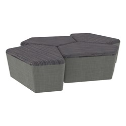 "Shapes Series II Designer Soft Seating - 18"" H CommunEDI Four-Pack - Pepper/Gray"