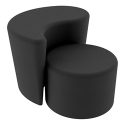 """Shapes Series II Vinyl Soft Seating - 12"""" H Cylinder & 18"""" H Teardrop (Pack of Two) - Black Smooth Grain"""