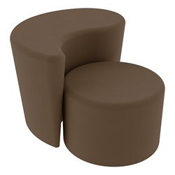 """Shapes Series II Vinyl Soft Seating - 12"""" H Cylinder & 18"""" H Teardrop (Pack of Two) - Chocolate Smooth Grain"""