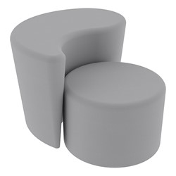 """Shapes Series II Vinyl Soft Seating - 12"""" H Cylinder & 18"""" H Teardrop (Pack of Two) - Light Gray Smooth Grain"""