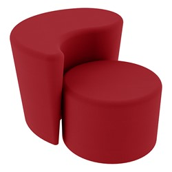 """Shapes Series II Vinyl Soft Seating - 12"""" H Cylinder & 18"""" H Teardrop (Pack of Two) - Red Smooth Grain"""