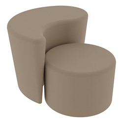 """Shapes Series II Vinyl Soft Seating - 12"""" H Cylinder & 18"""" H Teardrop (Pack of Two) - Taupe Smooth Grain"""