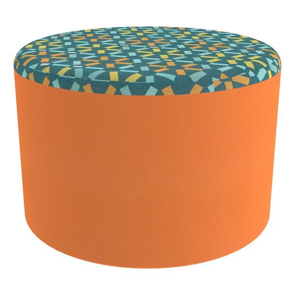 """Shapes Series II Designer Select Soft Seating - Cylinder (12"""" H) - Atomic Top/Orange Sides"""